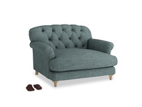 Truffle Love seat in Anchor Grey Clever Laundered Linen