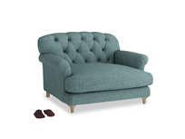 Truffle Love seat in Blue Turtle Clever Laundered Linen