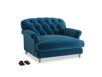 Truffle Love seat in Berlin Blue Clever Deep Velvet