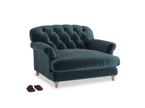 Truffle Love seat in Bluey Grey Clever Deep Velvet
