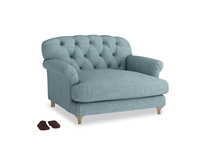 Truffle Love seat in Soft Blue Clever Laundered Linen