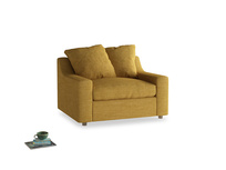 Cloud Love Seat Sofa Bed in Mellow Yellow Laundered Linen