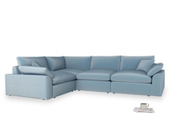Large left hand Corner Cuddlemuffin Modular Corner Sofa in Chalky blue vintage velvet