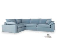 Large left hand Cuddlemuffin Modular Corner Sofa in Chalky blue vintage velvet