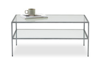 Wolfie glass and metal coffee table