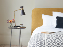 Boffin table lamp and cookie upholstered bed