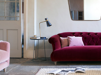 Boffin table lamp and Dixie upholstered sofa