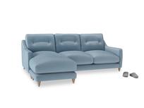 Large left hand Slim Jim Chaise Sofa in Chalky blue vintage velvet