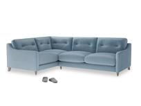 Large Left Hand Slim Jim Corner Sofa in Chalky blue vintage velvet