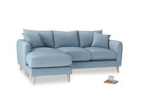 Large left hand Squishmeister Chaise Sofa in Chalky blue vintage velvet