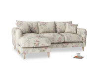 Large left hand Squishmeister Chaise Sofa in Pink vintage rose