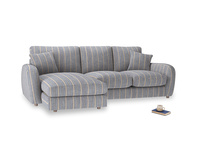 Large left hand Easy Squeeze Chaise Sofa in Brittany Blue french stripe