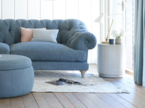 Bagsie chesterfield button back deep seated sofa in blue