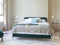 Chrome contemporary upholstered bed