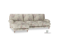 Large left hand Slowcoach Chaise Sofa in Pink vintage rose