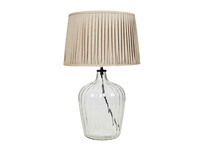 Flute glass table lamp Natural pleated shade