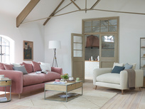 Squishmeister Oak Leg Feather Filled Back Cushion Sofa