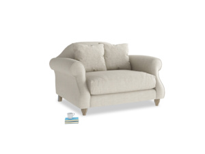 Sloucher Love seat in Thatch house fabric