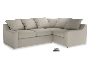 Large right hand Corner Cloud Corner Sofa Bed in Thatch house fabric