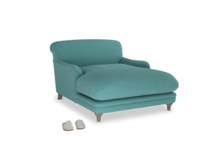 Pudding Love seat chaise in Peacock brushed cotton