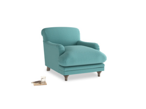 Pudding Armchair in Peacock brushed cotton