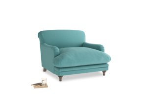 Pudding Love seat in Peacock brushed cotton