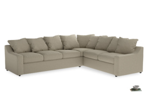 Xl Right Hand Cloud Corner Sofa in Jute vintage linen