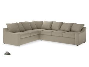 Xl Left Hand Cloud Corner Sofa in Jute vintage linen