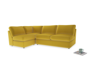 Large Left Hand Chatnap Modular Corner Sofa Bed in Bumblebee Clever Velvet with no arms
