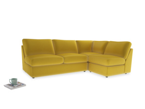 Large Right Hand Chatnap Modular Corner Sofa Bed in Bumblebee Clever Velvet with no arms