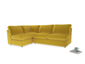Large left hand Corner Chatnap modular corner storage sofa in Bumblebee clever velvet