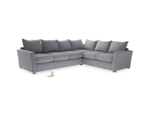 Xl Right Hand Pavilion Corner Sofa Bed in Dove Grey Wool