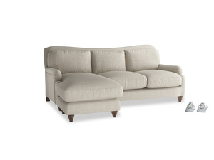 Large left hand Pavlova Chaise Sofa in Thatch house fabric