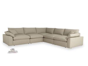 Even-sided Cuddlemuffin Modular Corner Sofa in Jute Vintage Linen