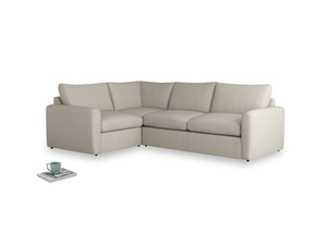 Large left hand Corner Chatnap modular corner sofa bed in Thatch house fabric and both Arms