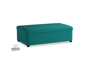 Double Bed in a Bun in Indian green Brushed Cotton