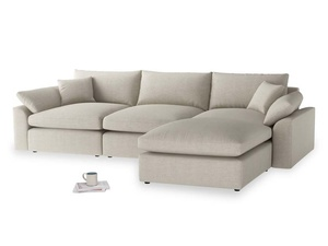 Large right hand Chaise Cuddlemuffin Modular Chaise Sofa in Thatch house fabric