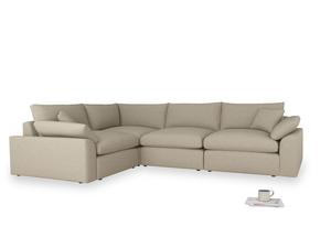 Large Left Hand Cuddlemuffin Modular Corner Sofa in Jute Vintage Linen