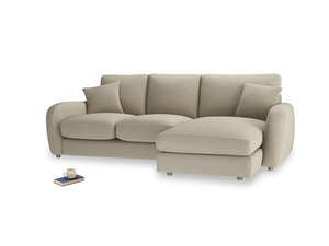 Large right hand Easy Squeeze Chaise Sofa in Jute vintage linen