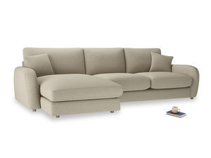 XL Left Hand  Easy Squeeze Chaise Sofa in Jute vintage linen