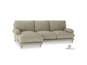 Large left hand Slowcoach Chaise Sofa in Jute vintage linen
