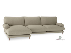 XL Left Hand  Slowcoach Chaise Sofa in Jute vintage linen