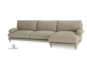XL Right Hand  Slowcoach Chaise Sofa in Jute vintage linen