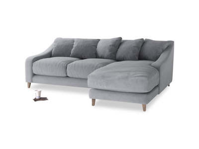 Large right hand Oscar Chaise Sofa in Dove grey wool