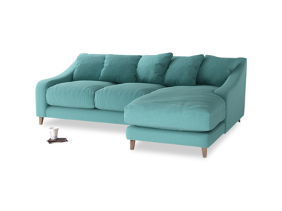 Large right hand Oscar Chaise Sofa in Peacock brushed cotton