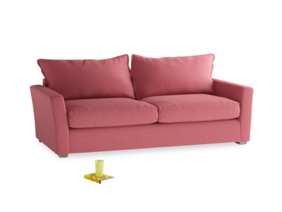 Large Pavilion Sofa Bed in Raspberry Brushed Cotton