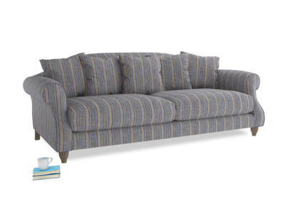 Large Sloucher Sofa in Brittany Blue french stripe
