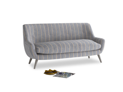 Medium Berlin Sofa in Brittany Blue french stripe