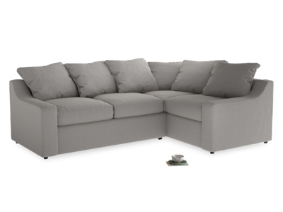 Large Right Hand Cloud Corner Sofa in Wolf brushed cotton