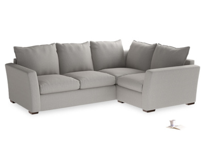 Large Right Hand Pavilion Corner Sofa in Wolf Brushed Cotton